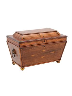 Large Rosewood & Satinwood Tea Caddy