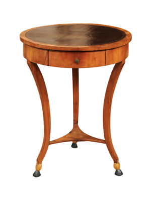 Neoclassical Fruitwood Gueridon with Embossed Leather Top