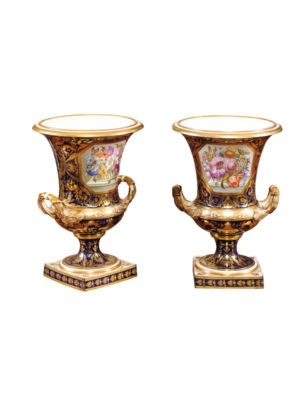 Pair 19th Centry Derby Urns