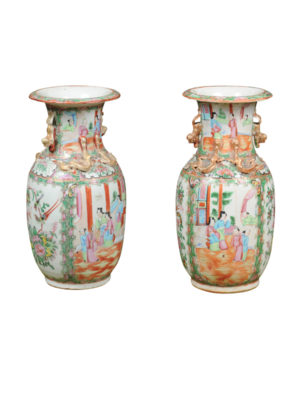 Pair Chinese Export Rose Medallion Vases