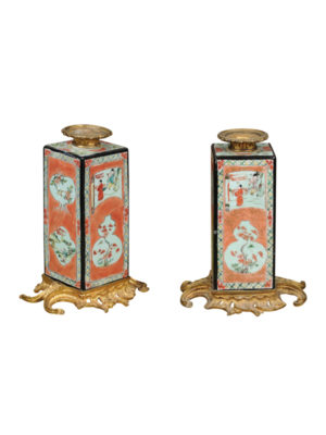 Pair Famille Verte Style Vases with Ormolu Mounts