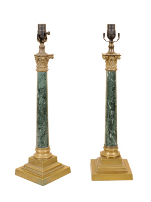 Pair Green Marble & Brass Candlestick Lamps