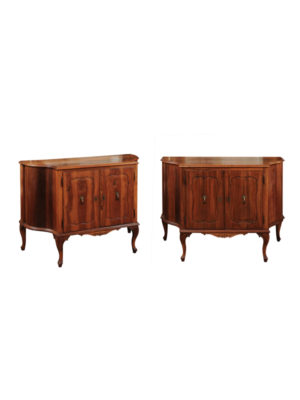 Pair Italian Walnut Cabinets