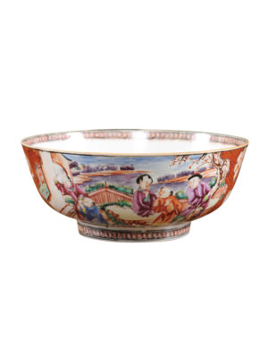 18th Century Chinese Export Bowl with Mandarin Scene