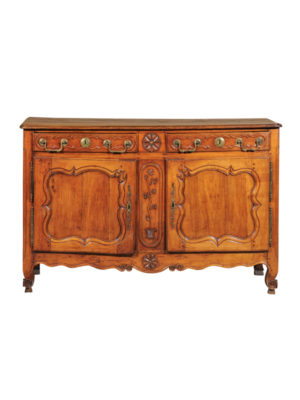 Louis XV Walnut Buffet with Floral Carving