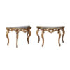 Pair 18th Century Italian Giltwood Consols with Faux Marbleized Top