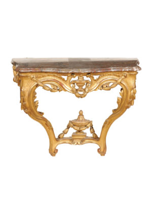 Wall Mounted Giltwood Console with Marble Top