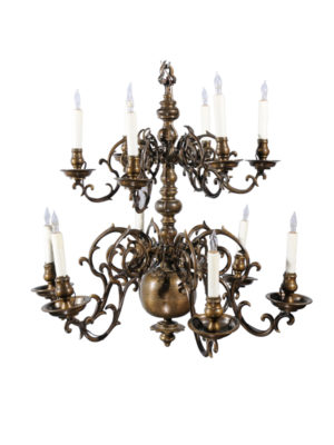 18th Century Dutch Brass Chandlier with 12 Lights