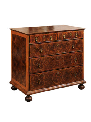 18th Century Oyster Veneer 5-Drawer Chest
