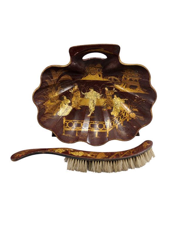 Chinoiserie Paper Mache Dish & Brush Set