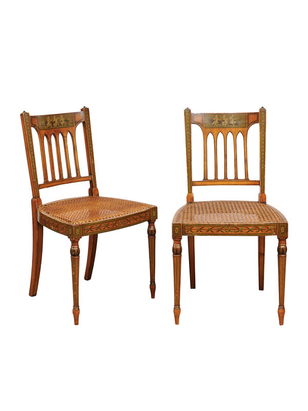 George III Satinwood Side Chairs with Cane Seats