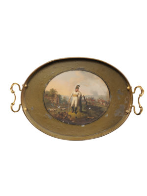Green Tole Tray with Landscape Scene