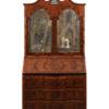 Italian Walnut Bureau Bookcase with Mirrored Doors
