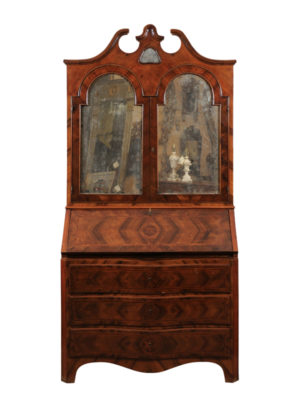 Italian Walnut Bureau Bookcase with Mirrored Doors