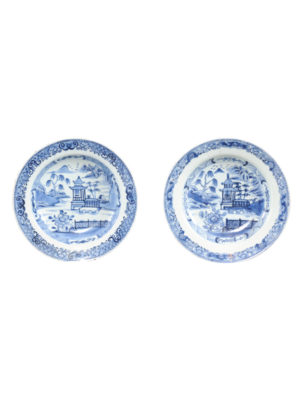 Pair 18th Century Chinese Export Blue & White Soup Bowls