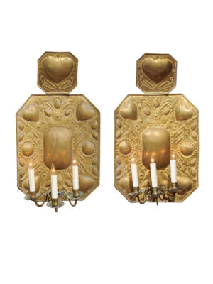 Pair 18th Century Dutch Brass Sconces