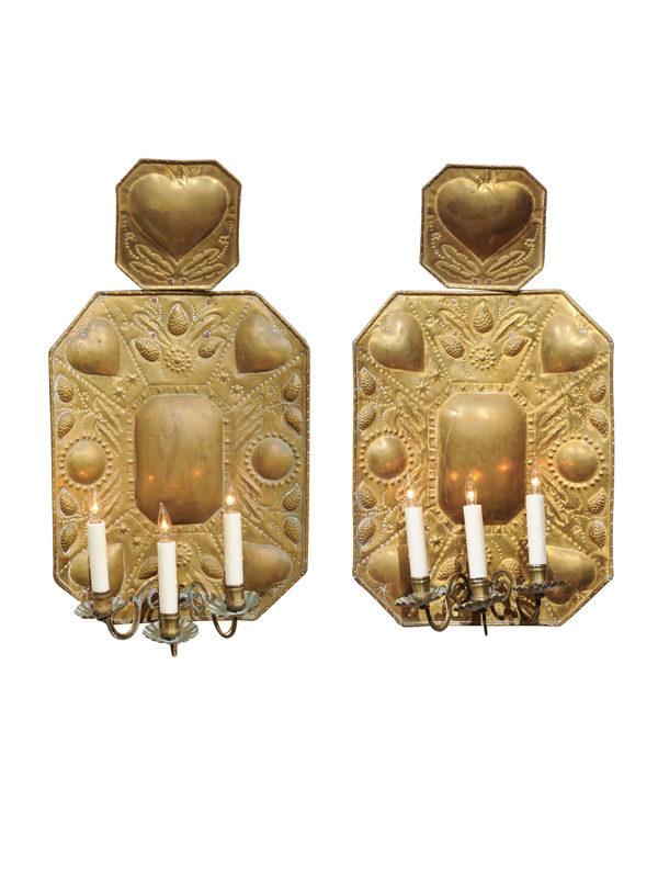 Pair 18th Century Dutch Brass Sconces
