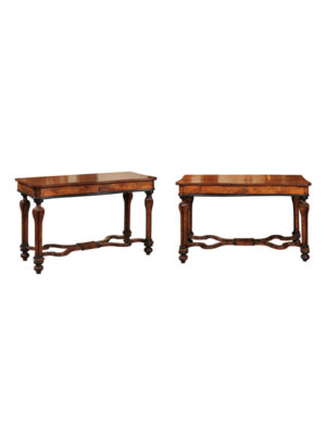 Pair 18th Century Italian Walnut Console Tables