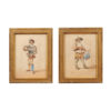Pair Giltwood Farmed Watercolors of Men