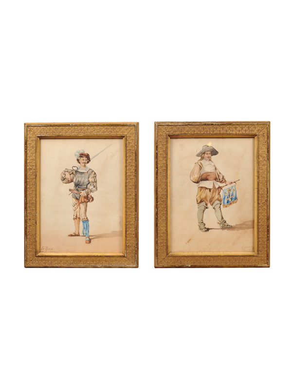 Pair Giltwood Farmed Watercolors of Men