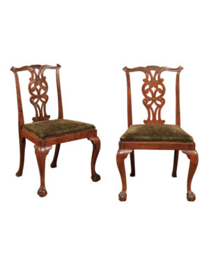 Pair Walnut Chippendale Side Chairs