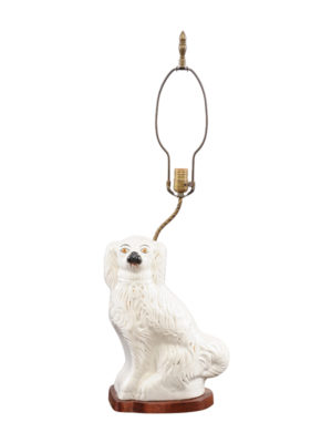 Staffordshire White Dog Lamp