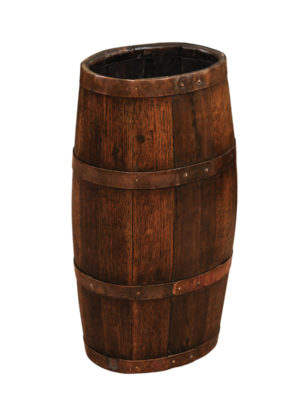 Brass Banded Oak Barrel-Form Umbrella Stand