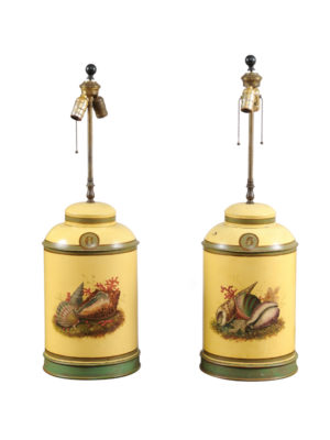 Pair Yellow Tole Tea Canister Lamps
