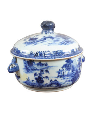 Round Blue & White Covered Tureen