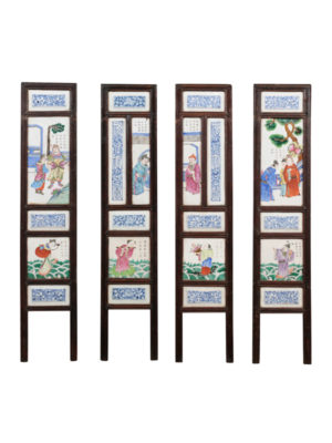 19th Century Chinese Framed Porcelain Tiles