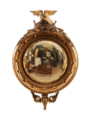 19th Century Regency Bullseye Mirror with Eagle