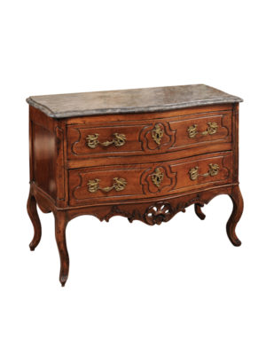 Louis XV Walnut Commode with Gray Marble Top