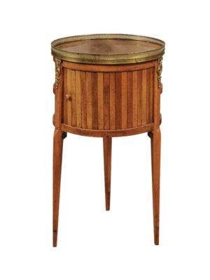 Louis XVI Walnut Round Chevet with Tamboor Door