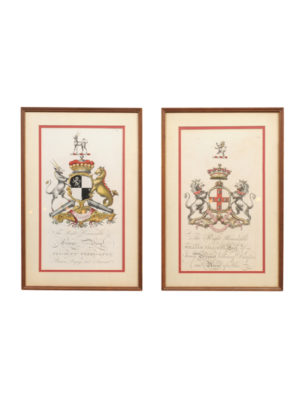 Pair Framed Heraldic Engravings