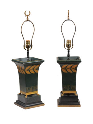 Pair Green Tole Lamps