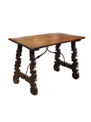 18th Century Walnut Table with Iron Stretcher