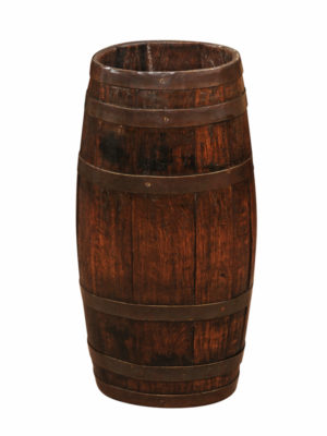 Brass Banded Oak Barrel Form Umbrella Stand