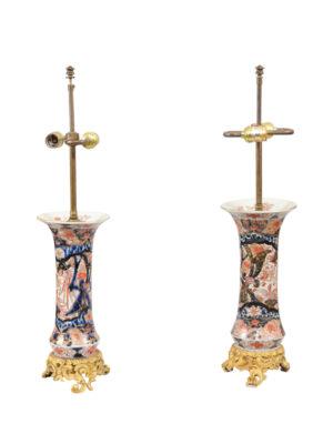 Pair Imari lamps with Gilt Mounts