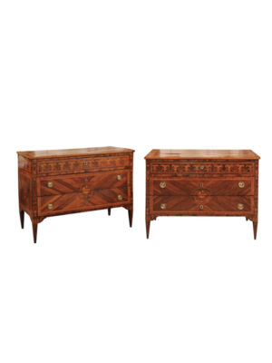 Pair Northern Italian Neoclassical Inlaid Commodes