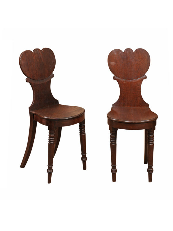 Pair Regency Style Oak Hall Chairs
