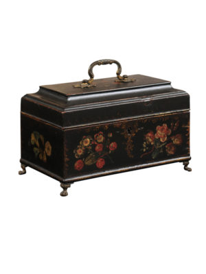 18th Century English Black Painted Tea Caddy