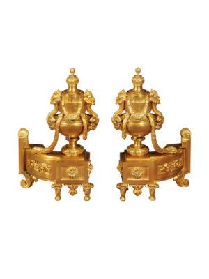 Louis XVI Style Bronze Dore Chenets