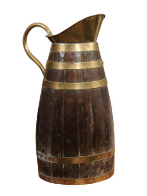 Brass Banded Oak Wine Pitcher