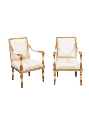 Pair Gilded Neoclassical Style Armchairs