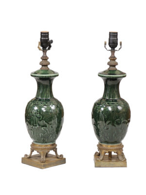 Pair Green Glazed Lamps