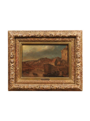 18th Century Giltwood Framed Oil on Board Landscape