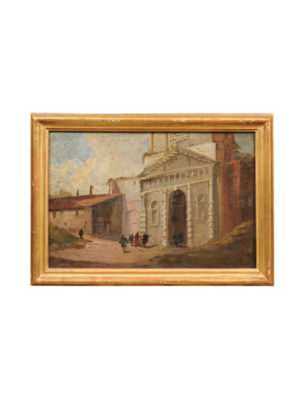 19th Century Oil on Board Painting Italian Street Scene