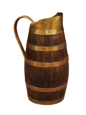 19th Centuy French Brass Banded Oak Wine Pitcher