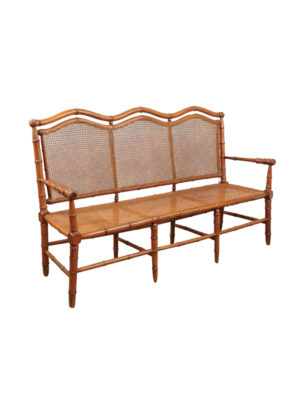 Bamboo Style Bench with Caned Seat & Back