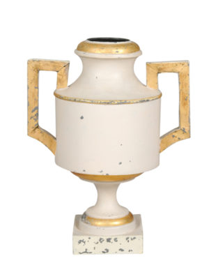 Cream Painted Tole Urn